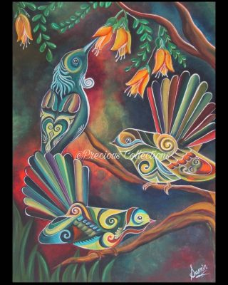 Kotahitanga- unity💞 Tui, piwakawaka in kotahitanga👏 Sharing and living together in nature🐦🌱🐤 There is so much to learn from the nature. This painting is acrylic on canvas🎨Original handpainted👈 Lovely rustic colours depicting sunset glory.  Ready to hang😊dm me for purchase  #nznativebird #nzabstractart #nzart #kowhaiflower #tuibird #piwakawaka #beautifulart #nzbeauty #nznature #aotearoaart #aotearoabirdlife #maoriculture #acrylicpainting #nzlocal #preciouscollections