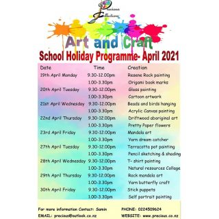 Kia Ora,  Let your little ones make the most of this holiday time by indulging  in some great art and craft sessions run by us.  This holiday programme is tailored to get those creative juices flowing and learning different art and craft creations.  I am super excited for the Art and craft holiday programme. If your children are interested in any of the following creations please go to the below link as seats are limited.  The link to the April Art and Craft holiday programme for kids  is in my bio   Seats are limited to 8 children per session. Fees will be $40 per session and if you wish to book for the whole day you get a 10% discount. Morning tea and afternoon tea will be provided by us. Please bring your own Lunch. Lunch will not be provided.  Let me know if you have any further questions 😊  Ngā mihi, Samin.  #artlessons #wellingtonartclasses #kidsartclassnz #artandcraftforkids #wellingtonschoolholidayactivities #nzartist #kidsactivitynz