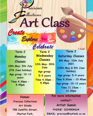 Hi🙋  Term  2 Art Class  enrollments have begun.  Please follow the link in the bio to enroll  your little artists 👇 https://eventspronto.co.nz/precious  Location: Precious Collections Art Classin Churton Park,  Wellington.   Age group: 5-9yr olds and 10-13yr olds   Please check the dates and holidays during this term in the attached flyer for more details.  Feel free to get in touch if you have any further questions.   Kind regards,  Samin 😊  #wellingtonartist #kidsartclassnz  #wellingtonartclasses #kidsactivitynz #kidsdrawing #kidsartnz #creativity #wellingtonschoolholidayactivities #wellingtonnz #wellingtonkidsactivities #artclassnz #artforkidsnz