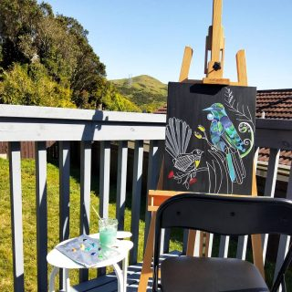 Beautiful day to be out and paint🌞 My favourute spot to paint🎨 #outdoorart #outdoorpainting #nzoutdoors #nzart #nzbirds #nzbeauty #beautifulaotearoa #nzartist #canvasart #easel #preciouscollections