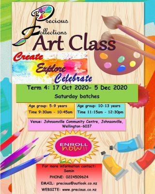 Hurry up and Enroll your little artists at the Precious Collections Art Class.   LAST FEW SEATS REMAINING!!!  Classes on Saturday in 2 batches from 17th Oct - 5th Dec see details in the flyer below.  New Batch on Wednesday after school few spots available.  This Term we will explore the water colour techniques, textas pens/ coloured pens and oil pastels shading.  For more details  please contact Samin 🙋 Phone☎ - 0224509624 Or Emai📩 - precious@outlook.co.nz  Website - http://precious.co.nz/art-class/  #artclass #artofnz #kidsartclassnz #nzkids #nzart #nzartclasses #nzartists #littleartist #littletalent #artteacher #wellingtonartist #wellingtonarts